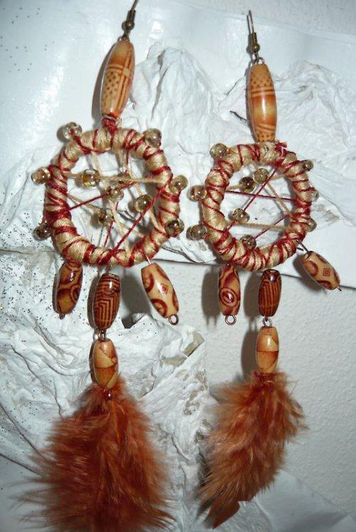 náušnice ve stylu indiánských lapačů krémové jemné