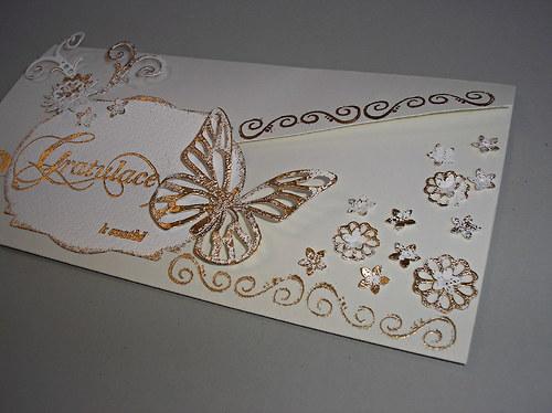 Elegantní dárková obálka s motýlem...svatební