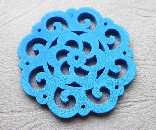 Dřevěná rozetka modrá, 4,2mm - 1ks