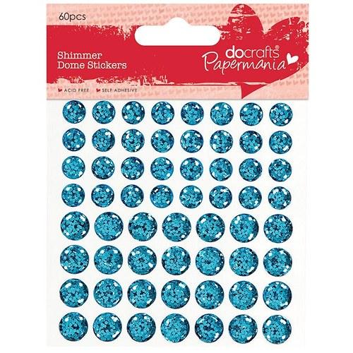 Třpytkaté vypouklé samolepicí tečky 60ks - modré