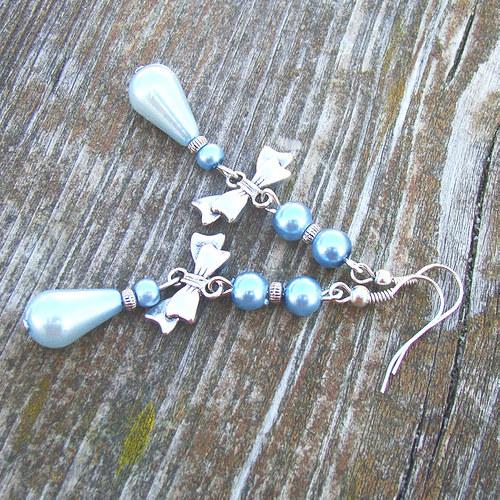 náušnice perličky s mašličkami a kapkami