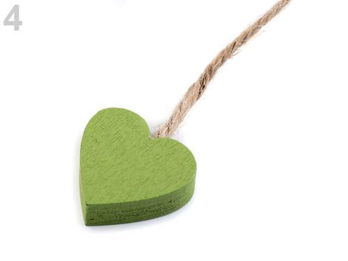 Dřevěné srdce - zelená (4ks)