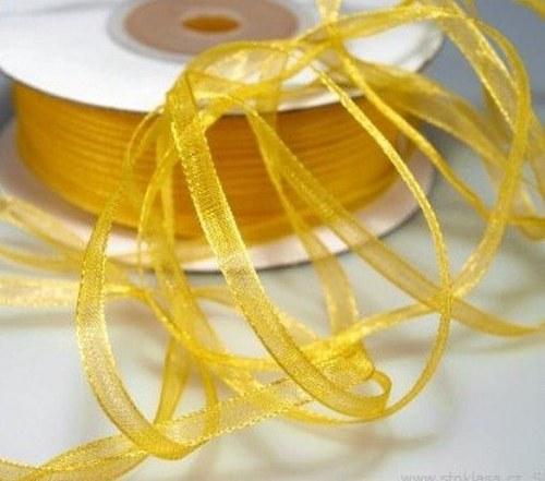 stuha šifónová 3mm žlutá - 6m