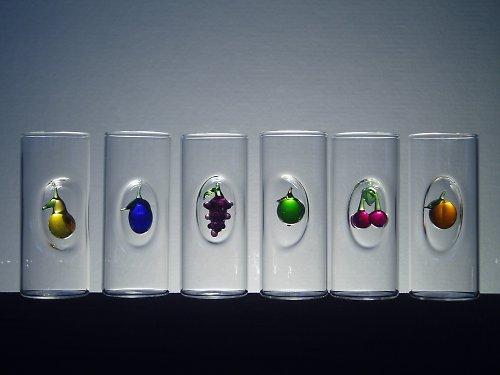 SKLENIČKY - PAŇÁCI s různým ovocem-6ks