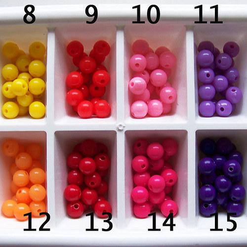 korálky akryl PONY / oranžová č.12 / 8mm / 12ks