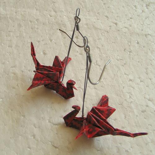 Červenoocasý drak  - Origami náušnice