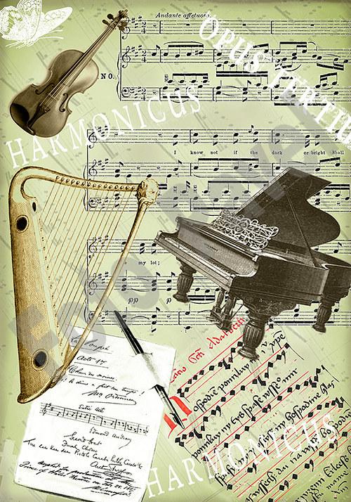 Vintage motiv - hudební nástroje
