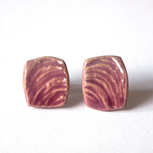 Růžové se strukturou - keramické puzety