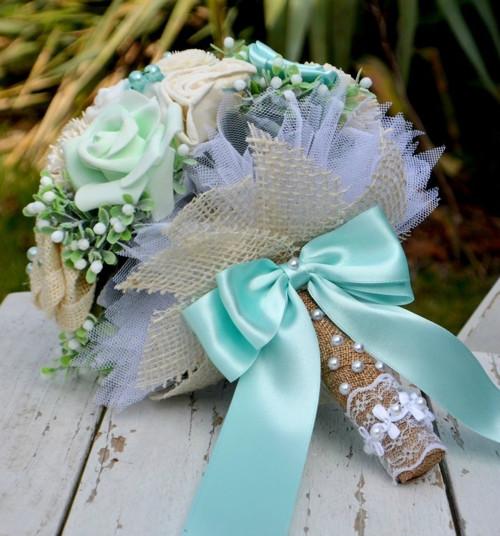 Svatební kytice Mint vintage a korsáž