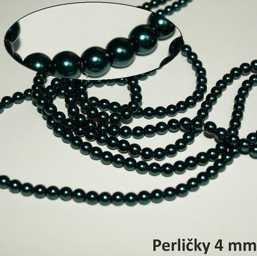 Voskované perle, 4 mm, Smaragd, 31 ks