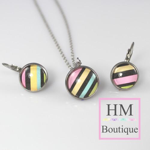 ocelový set -náušnice a náhrdelník barevné použky