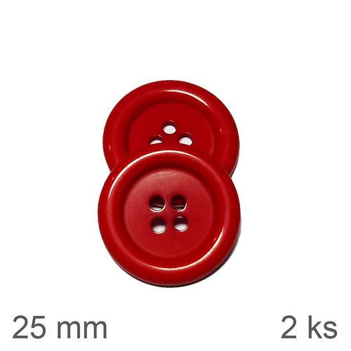 Knoflíky 25 mm červené 2 ks