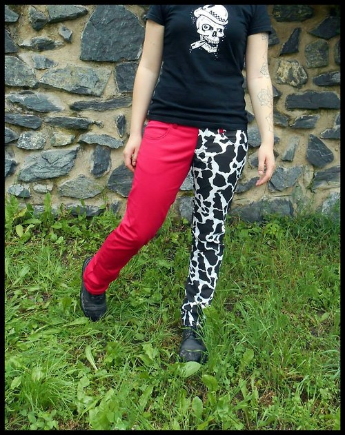 Kalhoty tmavě růžová + kraví