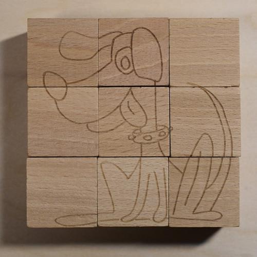 Dřevěné kostky k pomalování, 3 zvířátka