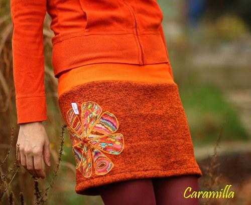 Zimní minisukně Oranžová s našívanými květy