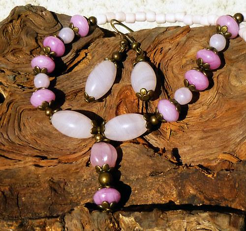 náhrdelník a náušnice růžová romantika