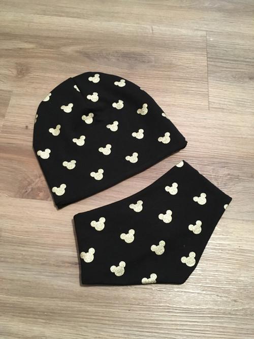 Setík čepice a nákrčníku/šátku - zlatý Mickey