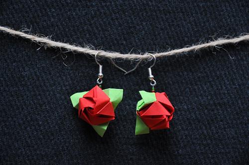Růžička - origami náušnice