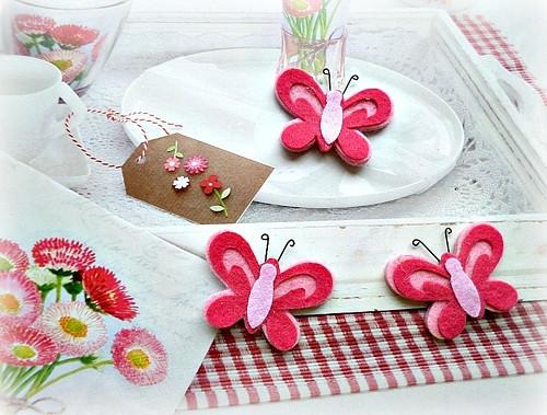 motýlci z filcu - cena za 6 kusů