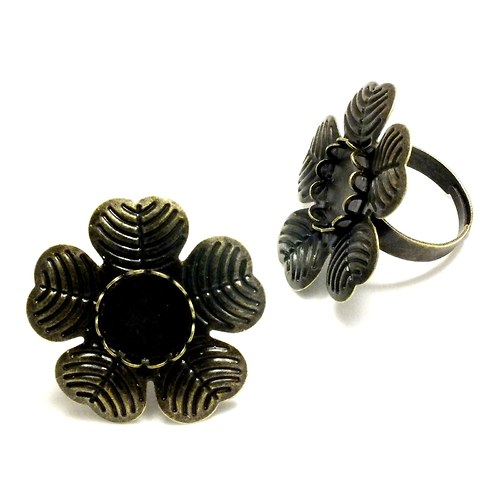 Základ na prsten bronzový, lůžko 12 mm, květ 30mm,