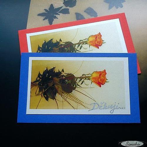 Děkovací kartička...Růžička