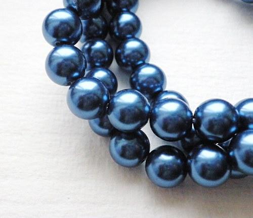 Perličky voskovky tmavě modré, 10mm - 10ks