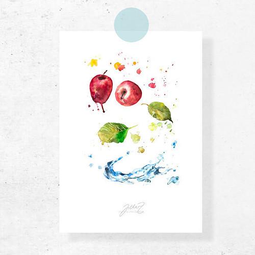Jablečná svěžest. Signovaný tisk do rámu A4