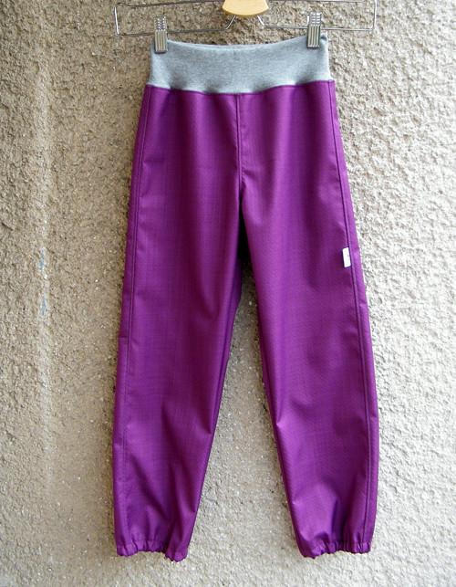 Softshellové kalhoty FIALOVÉ+ŠEDÁ 116/122