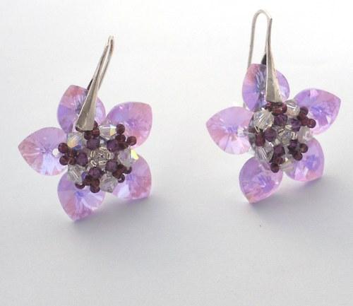 Náušnice Květy na ouška fialové