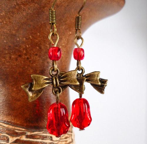 náušnice rudé zvonky
