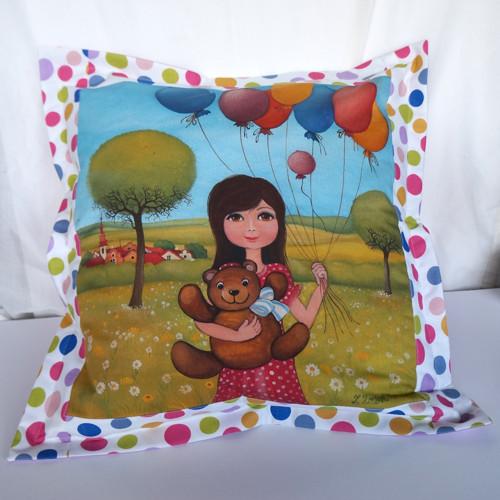 Andělka a balonky (50x50 cm) 100 % bavlna