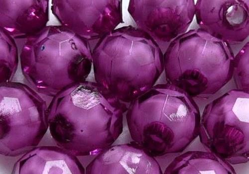 Plastové kuličky broušené 7 mm - fialová / 10 ks