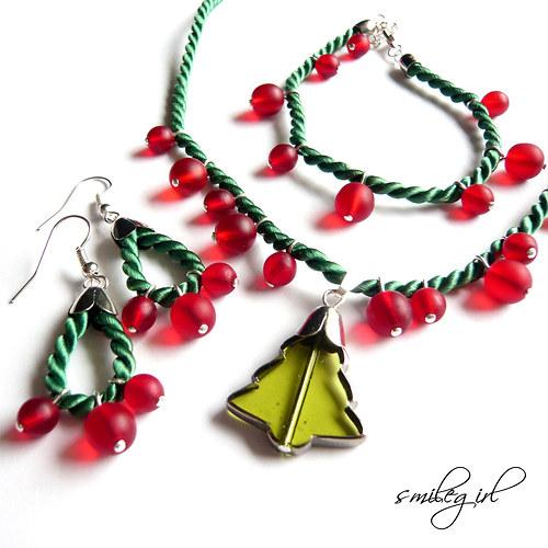 Vánoční souprava zeleno-červená