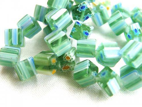 Millefiori kostičky zelené 6 mm - 10 kusů