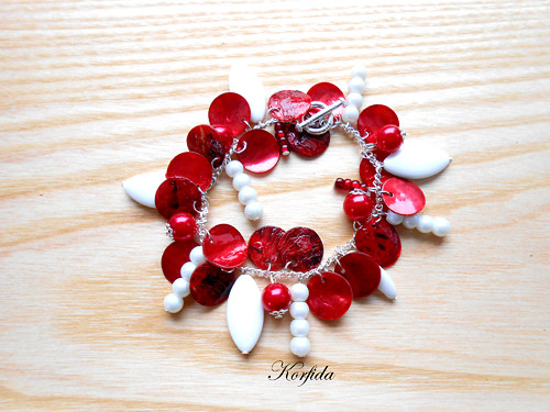 Náramek perleť červená