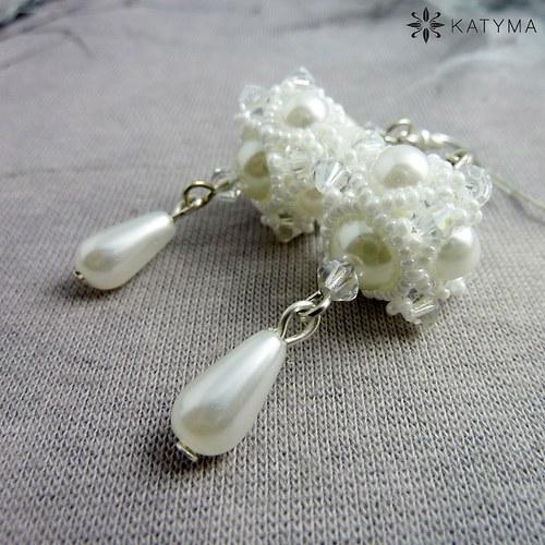 Náušnice perlové s krystalem