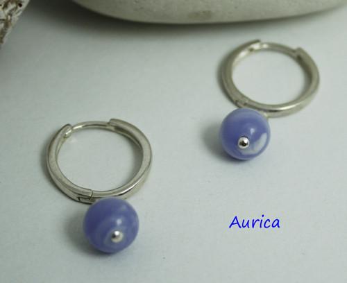 Stříbrné naušnice s blue lace agat - Ag 925