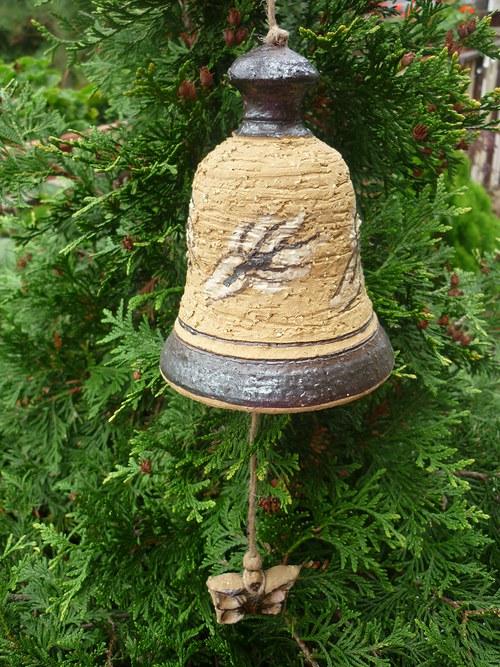 Keramický zvon - motýli-14cm