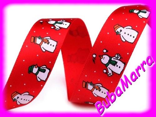 ~ Saténová vánoční stuha ~ SNĚHULÁK ~ červená