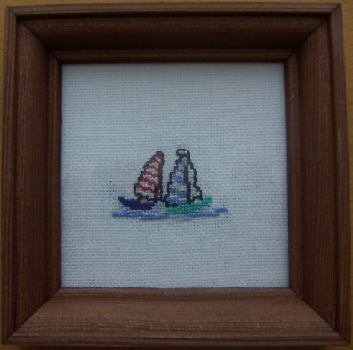 Vyšívaný obrázek - dvě plachetnice