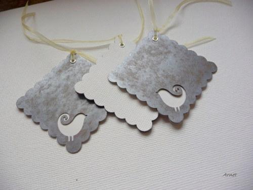 Sváteční visačky - stříbrné s bělounkými ptáčky