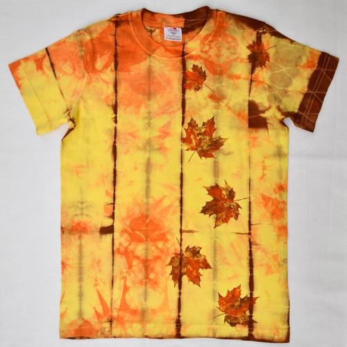 Dětské žluto-oranž.-hnědé triko s listy (11-12 let