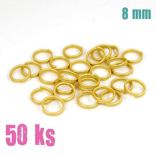Zlatobéžové dvojité kroužky 8 mm, 50 ks