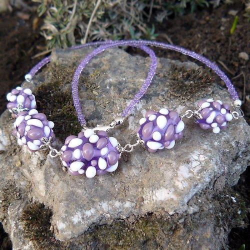 Náhrdelník - světle fialové mozaikové olivy