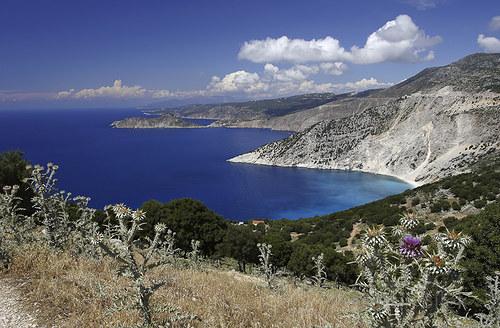 výhled na poloostrůvek Assos, Kefalonia, Řecko