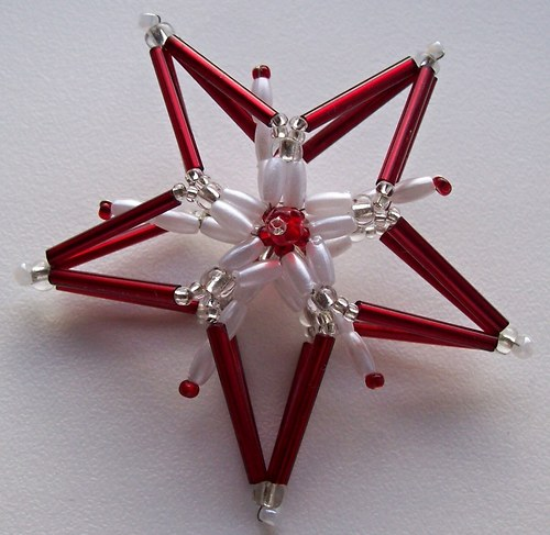Malá vánoční 3D hvězda - červená