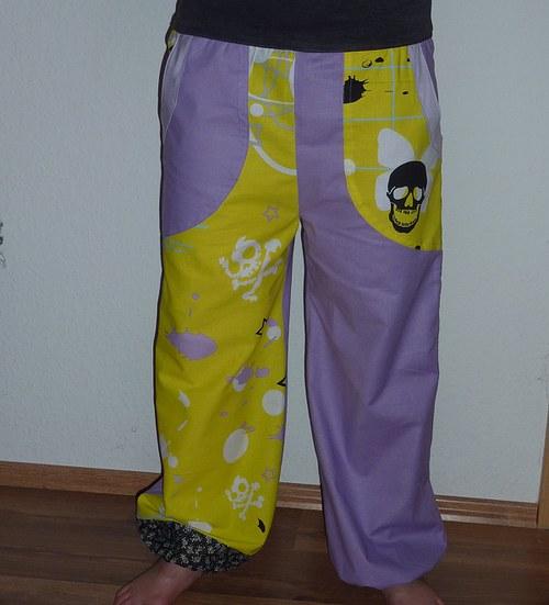 Slunce, lebka, fialky - kalhoty s nízkým sedem