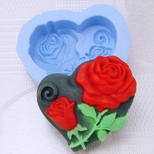 silikonová forma - růže v srdíčku