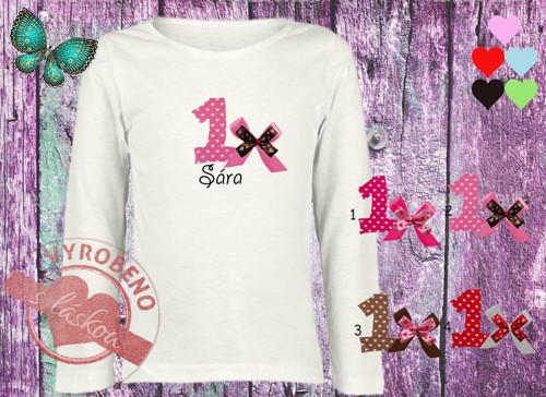 Dívčí triko narozeniny s mašlí