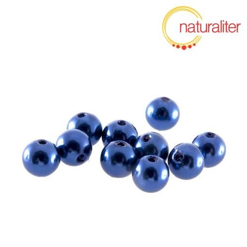 Voskované perly, tmavě modré, 8mm, 50ks